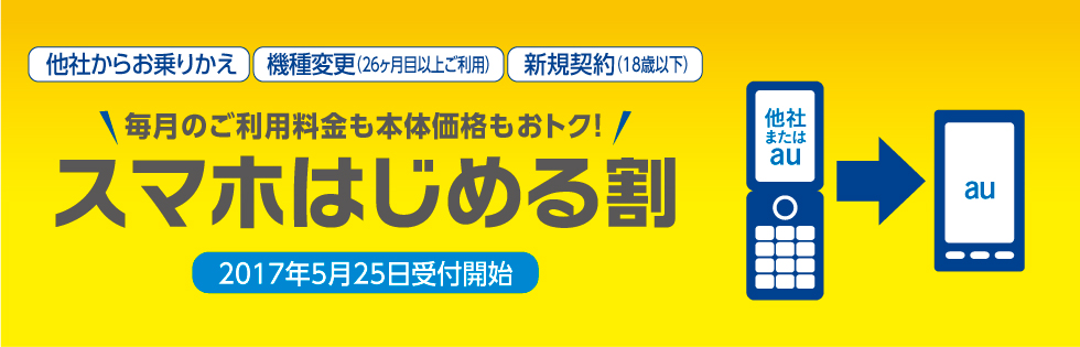 au(KDDI)が「スマホはじめる割」「3Gスマホ機種変更プログラム」を5月25日より提供